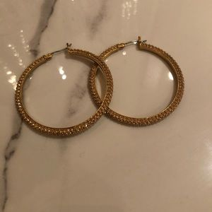 Ralph Lauren Gold Crystal Hoop Earring